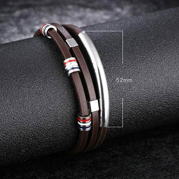 70c7e93aa7c32 Personalized Leather Bracelet for Men with Name Engraving