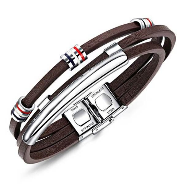 Personalized Leather Bracelet For Men With Name Engraving