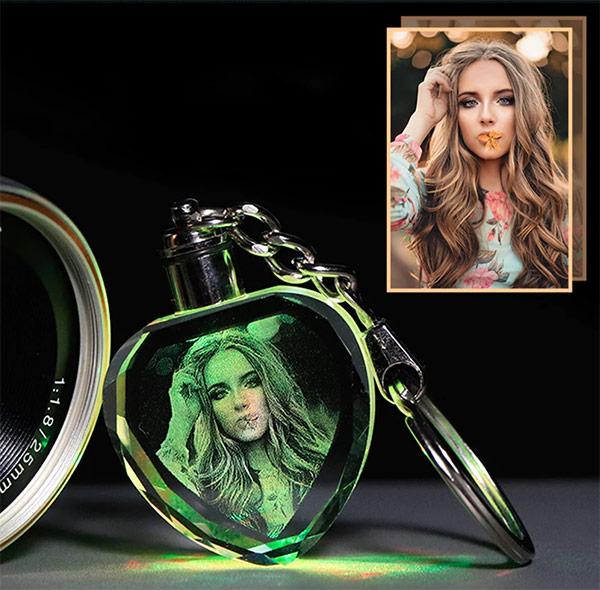 laser engaved lantern photo keychain